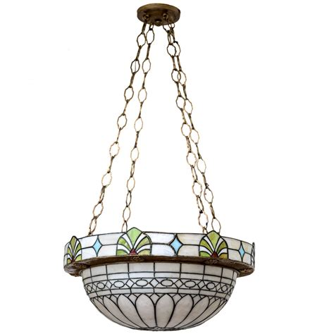 stained glass chandelier american stained glass dome chandelier circa 1900 at 1stdibs