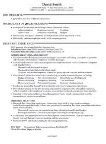 Resume Objectives Human Resources Exles by Combination Resume Sle Human Resources Generalist