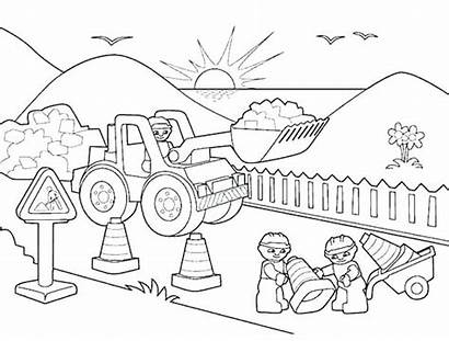 Construction Coloring Pages Equipment Printable Drawing Building