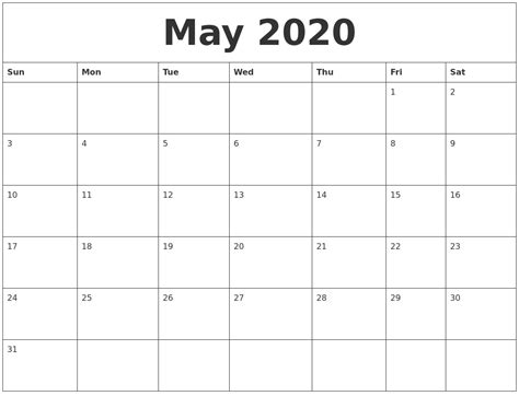 month template may 2020 month calendar template