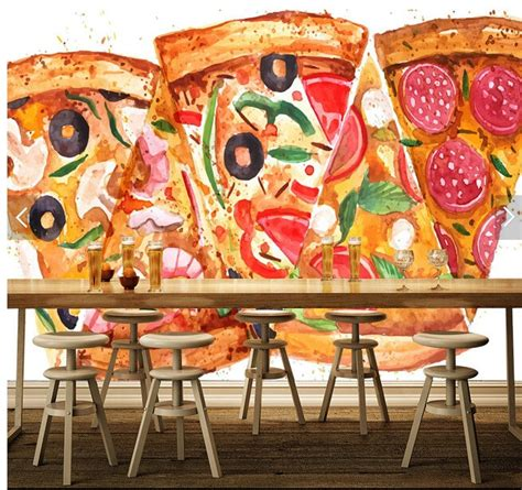 custom photo wallpaper pizza murals   living room