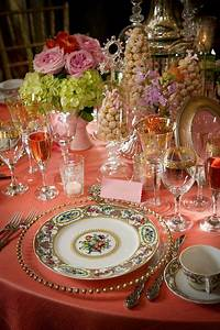 beautiful table settings simply lovely table! Coarl, pink and green. | table toppers | Pinterest