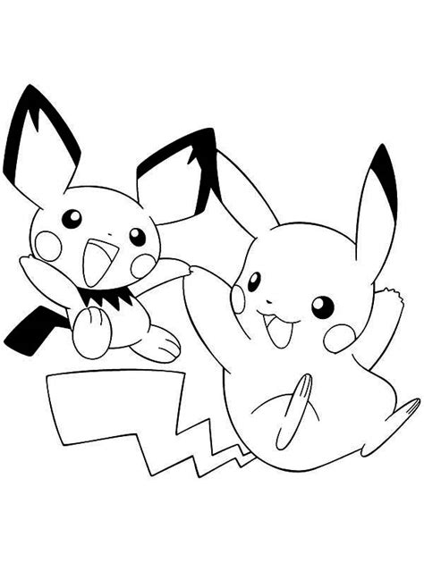 pikachu  pichu playing  coloring page pikachu