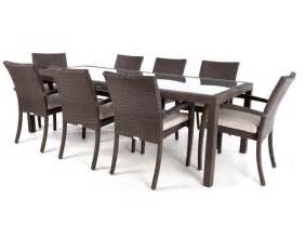 8 person ciro rectangular patio dining table with glass