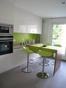 deco cuisine vert pomme With deco cuisine avec chaise cuisine blanche