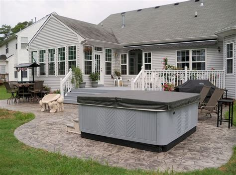 sted concrete patio and tub tub deck plans