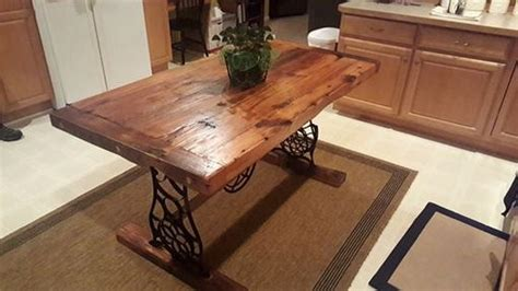 hand crafted barn wood dining table  singer base   lazarus wood project custommadecom