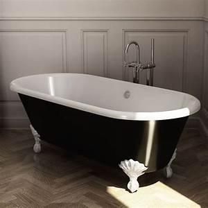 Baignoire Pas Cher : baignoire ilot en fonte 170x77 cm peinte en noir pieds ~ Melissatoandfro.com Idées de Décoration