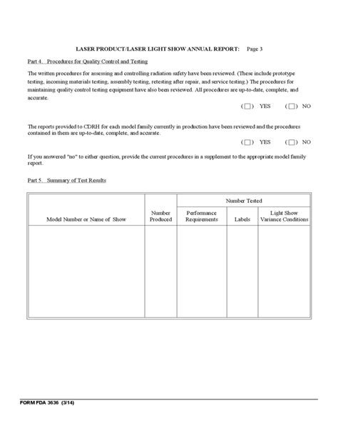 Form FDA 3636 - Annual Reports on Radiation Safety Testing