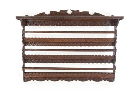 antique plate rack solid walnut victorian chip carved hanging shelf reduced  stdibs