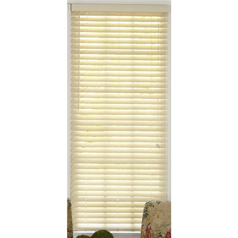 faux wood blinds lowes shop style selections 36 in w x 48 in l alabaster faux