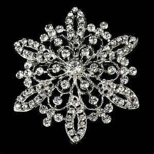 Silver Rhinestone Winter Wedding Snowflake Bridal Brooch