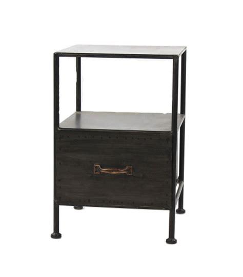 Table De Chevet Metal Table De Chevet En M 233 Tal Noir Avec Tiroir