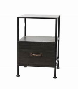 table de chevet en metal noir avec tiroir With table de chevet metal