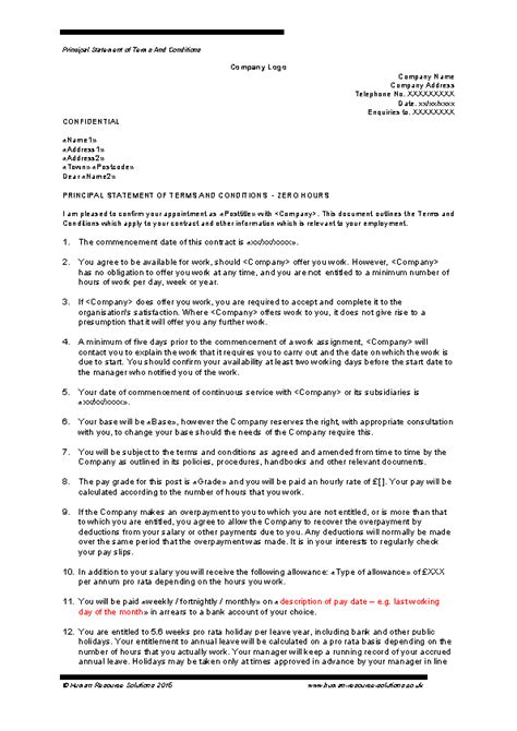 Zero Hour Contract Template Free Misse Rsd7 Org