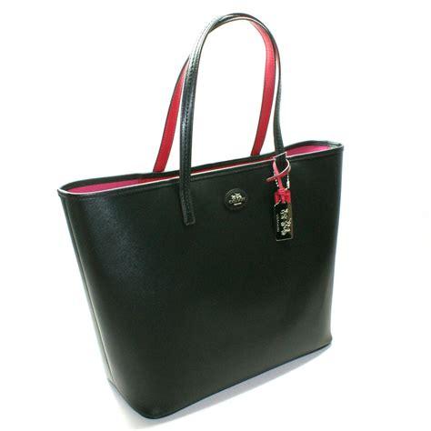coach black leather large tote bag  coach