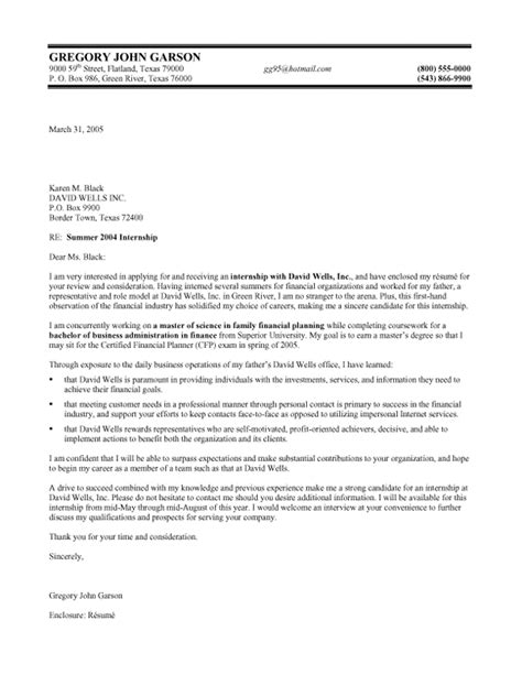 finance internship cover letter samples templates
