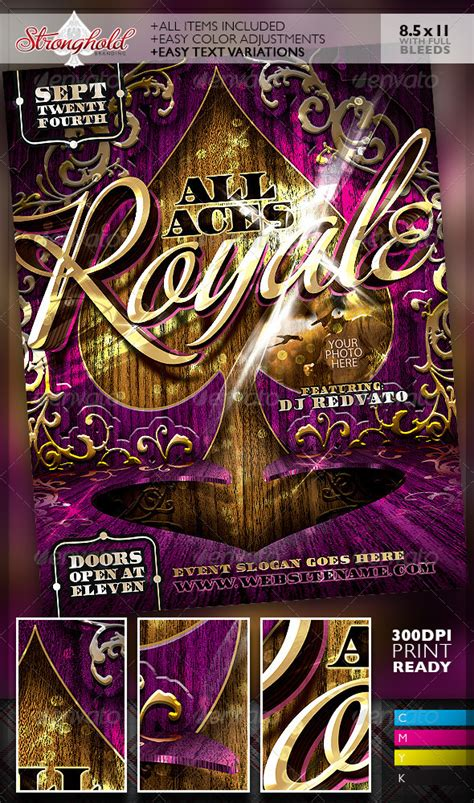 aces royale event party flyer template
