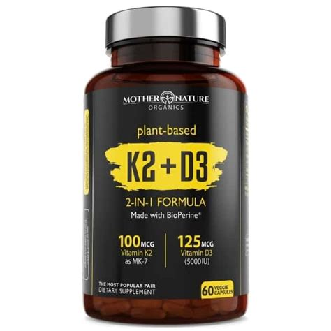 Compare dosage, cost, and formulation. Vitamin K2+D3 Supplement   Mother Nature Organics