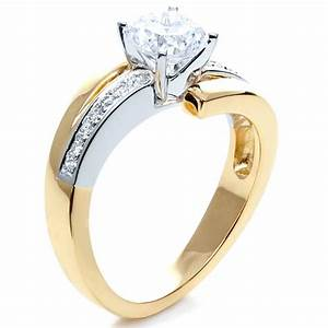 two tone gold diamond engagement ring 216 With two tone gold wedding rings