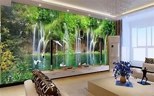 3D Wallpaper Mural Waterfall Bird Scenery Wall Paper ...