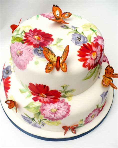 merry brides hand painted floral wedding cakes