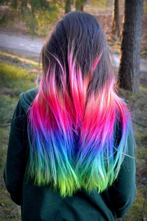 Pink Blue Rainbow Ombre Dip Dyed Hair Color Inspiration In