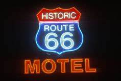 Historic Route 66 Neon Sign Royalty Free Stock s