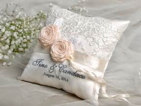 wedding ring pillow lace wedding pillow ring bearer pillow embroidery names lace roses custom colors