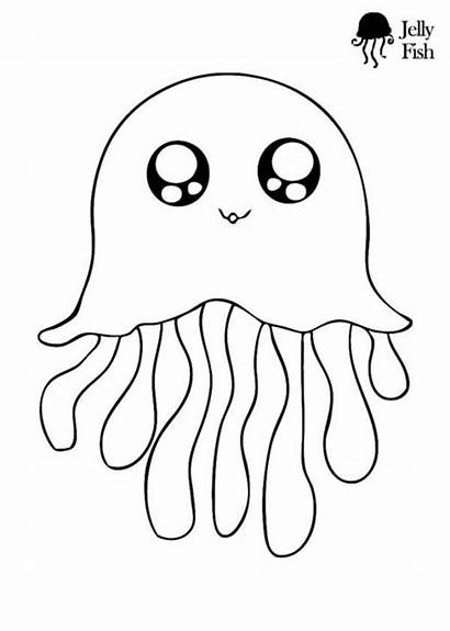 Coloring Pages Animal Jellyfish Fish Preschoolers
