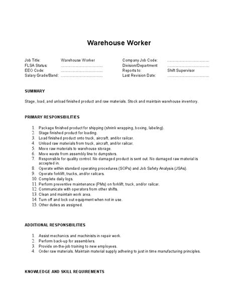Warehouse Worker Resume Responsibilities by Warehouse Worker Description Summary And Primary Responsibilities