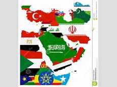 Flag Map Of The Middle East Stock Vector Illustration of