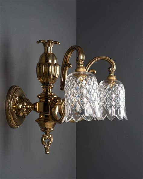 set of 3 good quality wall lights with cut crystal shades