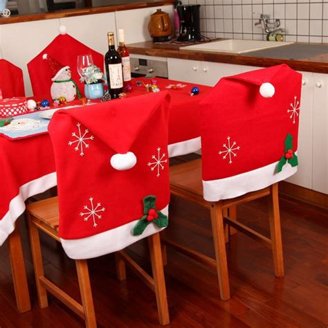 snowflake hat chair cover kitchen dinner