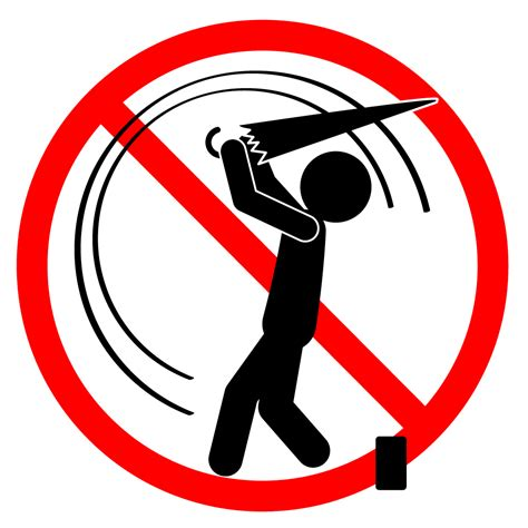 傘でのゴルフ練習禁止|禁止行為|注意する|イラスト|無料