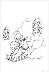 Sledding Coloring Worksheets sketch template