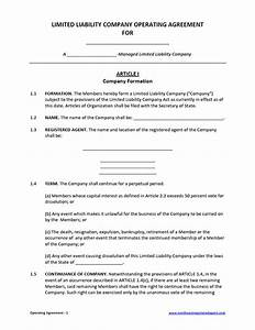 limited liability company operating agreement template With free llc documents