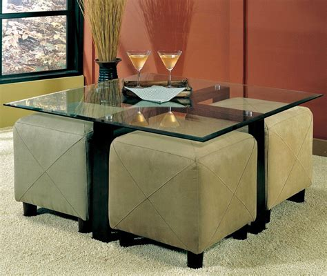 my favorite so far glass coffee table with ottomans