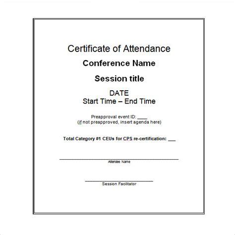 certificate of attendance seminar template 16 sle attendance certificate templates to sle templates