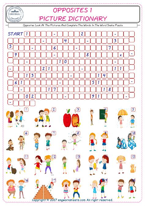 opposites english worksheet  kids esl printable picture