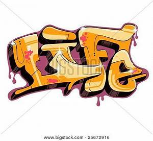 graffiti vector design, word life Stock Vector & Stock ...