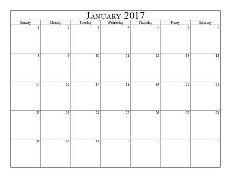 monthly calendar 2017 template blank monthly calendar 2017 printable 2017 calendars