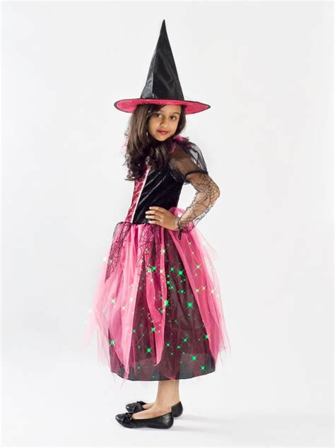 how to make a size witch for witch costume girls black light up pink glowing size 4 5 6 7 8 9 10 h