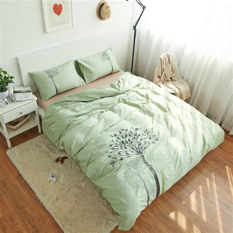 100 cottontree bedding set bed sheet light green duvet