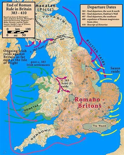 Britain Roman Rule Map End Showing Romans