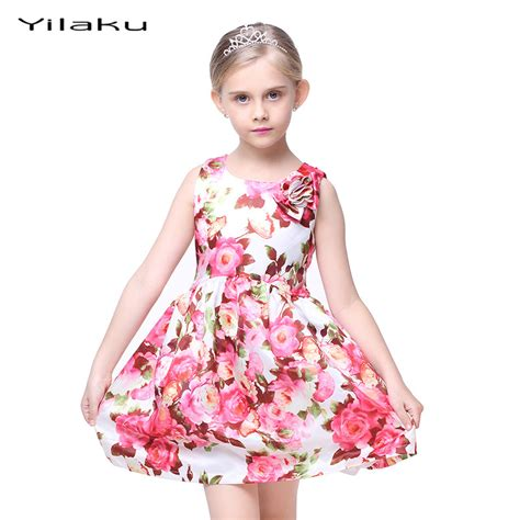 Floral Print Girls Dress 2017 Summer Sleeveless Girls Clothes Party Wedding Costume for Kids ...