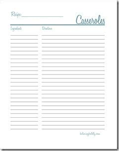 Recipe Binder Lazyday Expressions Recipe Binder Casseroles Products Printables