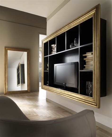 cornice porta libreria porta tv sospesa in frassino