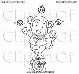 Unicycle Circus Monkey Riding Juggling Clipart Lineart Illustration Royalty Bnp Studio Vector Clip sketch template