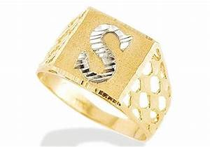 new 14k two tone gold diamond cut letter s initial ring With rings with letters on them